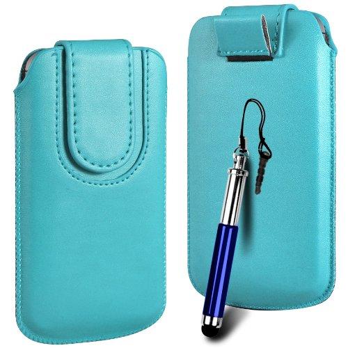 N4U ONLINE Premium PU-Leder Flip Pull Tab Hülle Tasche mit Magnetbandverschluss und versenkbaren Stift für Huawei Ascend Y210D - Hell-Blau