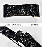 Borde del papel pintado Flor blanca negra Auto Adhesivo del Papel Pintado del PVC Cenefa autoadhesiva para decoración de pared de cocina, baño10CMX10M