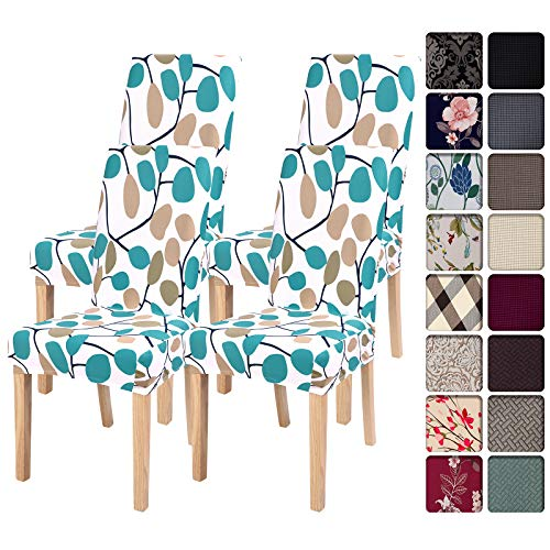 SearchI Dining Room Chair Covers Slipcovers Set of 4, Spandex Super Fit Stretch Removable Washable Kitchen Parsons Chair Covers Protector for Dining Room,Hotel,Ceremony,White+Leaves