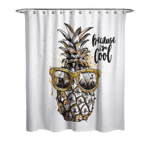 WFLJ ananas met zonnebril print badkamer gordijn voor Home Decor, waterdicht en meeldauw gemakkelijk te plaatsen stof douchegordijn voor bad bad en douchecabine, met 12 stuks haken