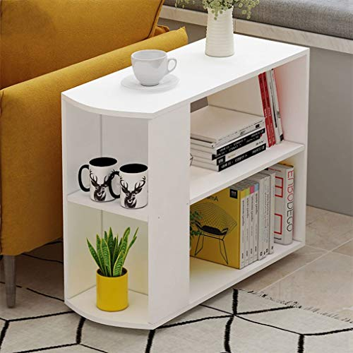 Bazahy US Fast Shipment Morden Rolling Coffee Table,Sofa Side End Table with Storage Shelf for Small Spaces, Night Stand with Wheels Mobile Snack Bedside Tray for Living Room Bedroom (White)