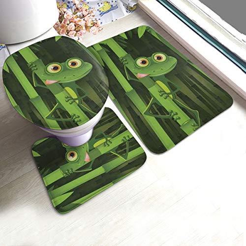 Bathroom Rugs and Mats Sets 3 Piece Cute Funny Frog On Jungle Bamboo Trees Toilet Seat Cover Rugs U Shaped Bath Mat Rug Non Slip Washable Bathmats Carpets Contour Floor Mats for Bathroom Decor