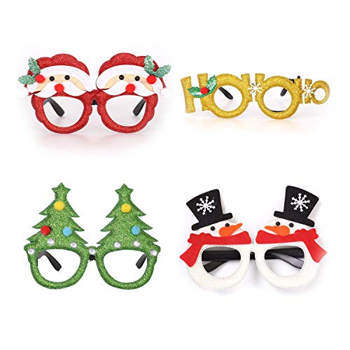 Ptsaying 4pcs Christmas Party Glasses Christmas Glitter Decoration Costume Eyeglasses Frame Unisex Eyeglasses for Holiday Party Decorations Christmas Ornaments Gift, Assorted Styles