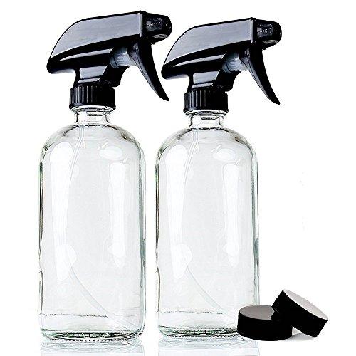 Felly Sprühflasche Glas 500ml, BPA-frei Spray-Flaschen Glas Klar 2 x 500ml für Pflanzen, Friseur, Ätherisches Öl mit 2-Stufen BPA-frei Sprühkopf - 2er-Pack neu