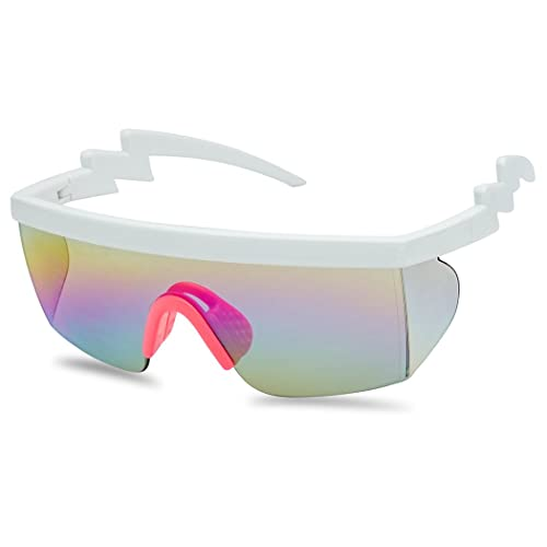 49928454ac61 SunglassUP 80's Neon Semi Rimless Style Retro Rainbow Mirrored Transparent  Lens ZigZag Sunglasses