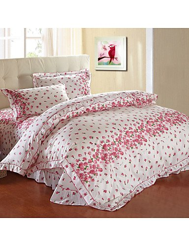 Lowest Prices! JT bedding,bed linings,Dream of Love,High-end Full Cotton Reactive Printing Stripe Pattern Bedding Set 4PC, FULL/Queen Size