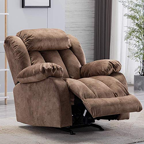 CANMOV Rocker Recliner Chair Manual Heavy Duty Reclining Chair with Contemporary Arms and Back, Fabric Single Sofa for Living Room (Camel)