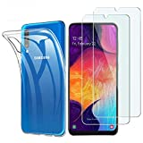 Samsung Galaxy A50 Panzerglas Hülle , [1 Handyhülle 2 Panzerglas] Schutzhülle [Ultra Dünn] Folie Glas 9H Panzerglasfolie TPU Silikon Hülle Cover Tasche Schale Transparent Crystal für Samsung Galaxy A50