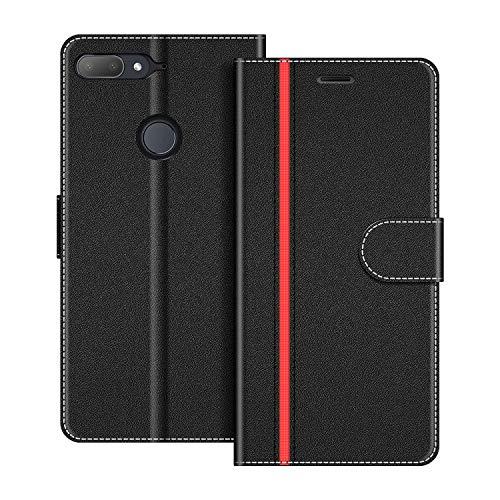 COODIO Handyhülle für HTC Desire 12+ Handy Hülle, HTC Desire 12 Plus Hülle Leder Handytasche für HTC Desire 12 Plus Klapphülle Tasche, Schwarz/Rot
