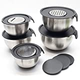 Set of 5 Stainless Steel Non-Slip Nesting Mixing Bowl Set with Lids and 3 Interchangeable Graters, Pouring spout and Ergonomic Handles and Volume Measurements (16 piece set) By Bakers Guild Tools