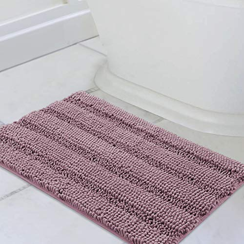 Bath Rugs Ultra Thick and Soft Texture Bath Mat Chenille Plush Striped Floor Mats Hand Tufted Bath Rug with Non-Slip Backing Door Mat for Kitchen/Entryway (Mauve - 20' x 32')