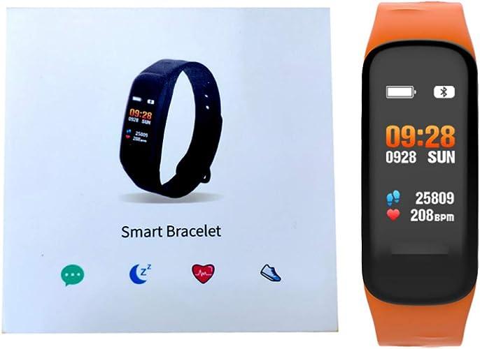 CPDZ Cardiofréquencemètre TrackMotion Surveillance de la Pression artérielle Bracelet à Puce imperméable à l'eau mètre de Carte de la Mode de la lumière Bracelet pour Les Hommes et Les Femmes,Orange