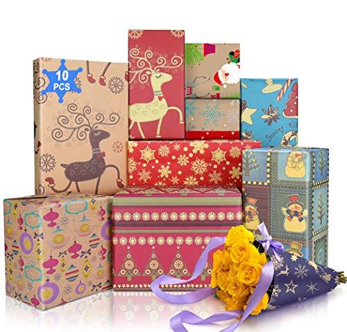 Geschenkpapier für Weihnachten, 10 Blätter Gemischt Braun Kraftpapier Geschenkpapier Bastelpapier 70 x 50cm für ein Papier, Weihnachtspapier zum Basteln für Kinder Geburtstag Xmas Geschenkverpackung