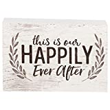 P. Graham Dunn This is Our Happily Ever After Laurel Wreath White 5 x 3.5 Inch Solid Pine Wood Barnhouse Block Sign
