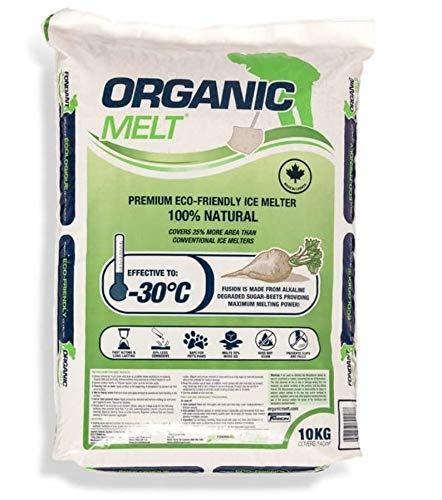 Eco Solutions Organic Melt Premium Granular Ice & Snow Melt - Pet Friendly, Plant and Concrete Safe Beet Deicer - 10kg Bag (22 lbs) (1)