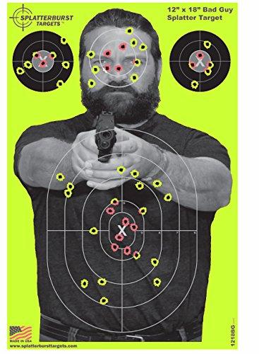 Splatterburst Targets - 12 x18 inch - Bad Guy Reactive Shooting Target - Shots Burst Bright...