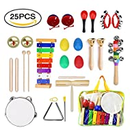 Percussion Musical Instruments Set for Kids, ULIFEME 25 Pcs Rhythm Band Toys Set, Wooden Xylophone Glockenspiel Toy Rhythm Band Set, Musical Instruments Gift for Baby, Child & Toddler with One Bag