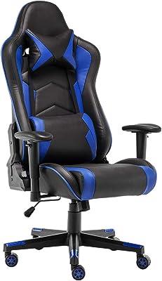 STmeng ゲーミングチェア オフィスチェア 高さ調節可能人間工学に基づいた背もたれ、腰痛を和らげる調節可能な枕 ゲーム用チェア (青い, フットレストなし)