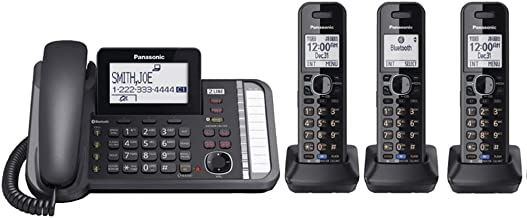Panasonic KX-TG9582B + 1 KX-TGA950B 2-Line DECT 6.0 System 3-Way Conferencing Talking Caller ID Noise Reduction Corded/Cordless Combination Telephone