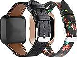 NeatCase Correa de Reloj de Piel con Hebilla Compatible con Fitbit Versa, Estilo de Vintage, Replacement Banda (2PCS D)