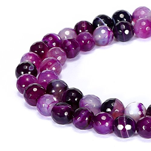 BRCbeads Gorgeous Natural Purple Stripce Agate Gemstone Faceted Round Loose Beads 10mm Approxi 15.5 inch 35pcs 1 Strand per Bag for Jewelry Making