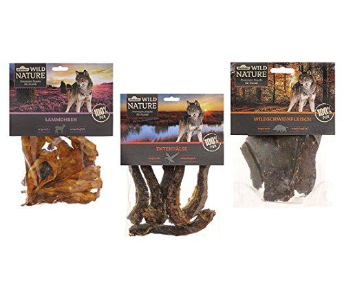 Dehner Wild Nature Hundesnack, 3 Sorten-Mix, Entenhälse, Lammohren und Wildfleisch, naturbelassen, 500 g