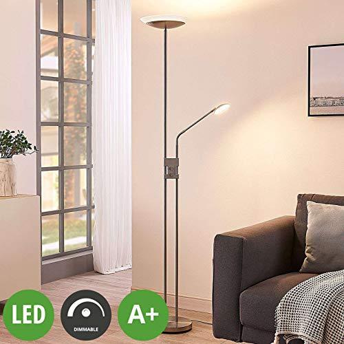Lampada LED da terra 'Jonne' dimmerabile (Moderno) colore Grigio, in Metallo ad es. Soggiorno & Sala...