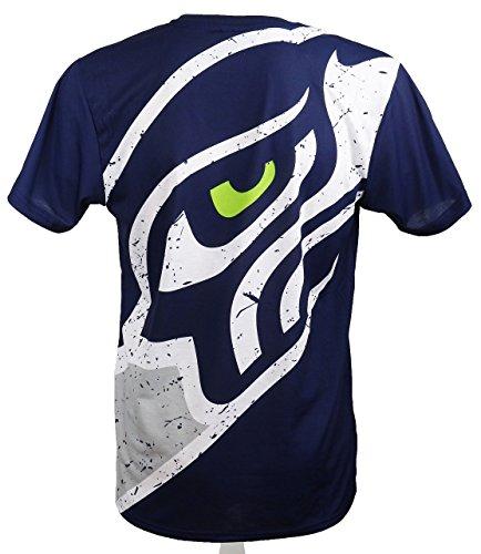 New Era Seattle Seahawks T Shirt/Tee Big Logo Back Navy - XXL