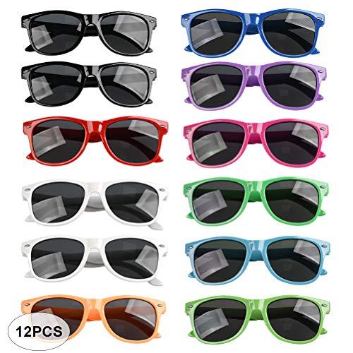 YANSHON 12er Sonnenbrille Set für Kinder in 11 Retro Brillen perfekte Sunglasses als Kinder-Geburtstag Mitgebsel & Partyset