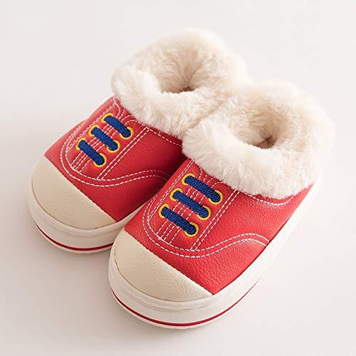 Wxmtxlm un pied Ceinture Talon femelle bébé Chaussons en coton d'hiver garçon Cuir PU étanche coulissante 2 chaud 3 Plus Fluff 7 ans 6 18-19 / inner length of about 17.0cm Big Red Sneakers