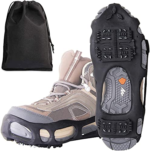 Pesca Agua Caminata Tracción Clases Crampones for Hombres Mujeres Niños 24 Picos Zapatos Tapas de tracción de Hielo sobre Nieve y Hielo,Papeles de Hielo for Botas y Zapatos