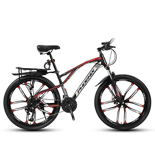 DGAGD 24-inch bicycle mountain bike variable speed light bicycle ten cutter wheels-Black red_21 speed