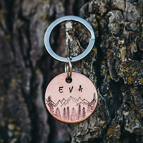 Mountain Dog Tag | Handstamped | Copper | Personalized | Pet Id Tag | Pine Tree | Handmade