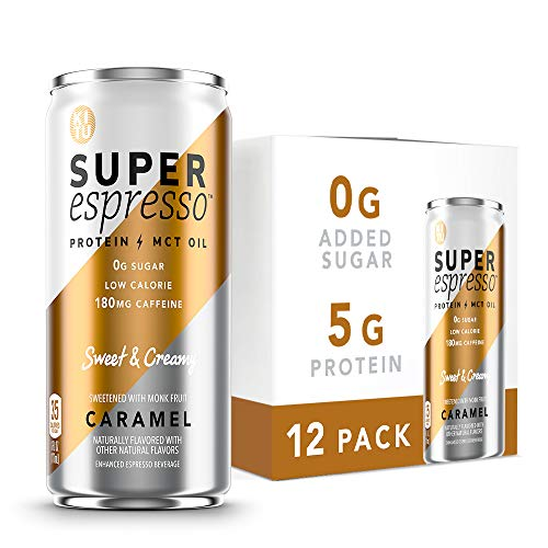 Kitu Super Espresso, Keto Coffee Cans (0g Added Sugar, 5g Protein, 35 Calories) [Caramel] 6 Fl Oz, 12 Pack | Iced Coffee, Canned Coffee - From the Super Coffee Family