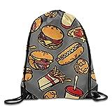 Etryrt Mochilas/Bolsas de Gimnasia,Bolsas de Cuerdas, Drawstring Backpack Hamburger Tomatoes Cheese Pizza Unisex Outdoor Gym Sack Bag Sport Drawstring Backpack Bag