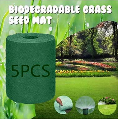 Biodegradable Grass Seed Mat, Grass Seed Mat Roll, Grass Seed Cushion Grow Mat, Quick Fix Roll - All in One Growing Solution for Lawns - Just Roll Water & Grow -Not Fake or Artificial Grass (5PCS)