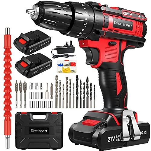 Cordless Drill Driver, 21V Combi Drill with 2 Batteries 1500mAh, 80Pcs, Electric Drill with 18+3 Torque Setting, 3/8