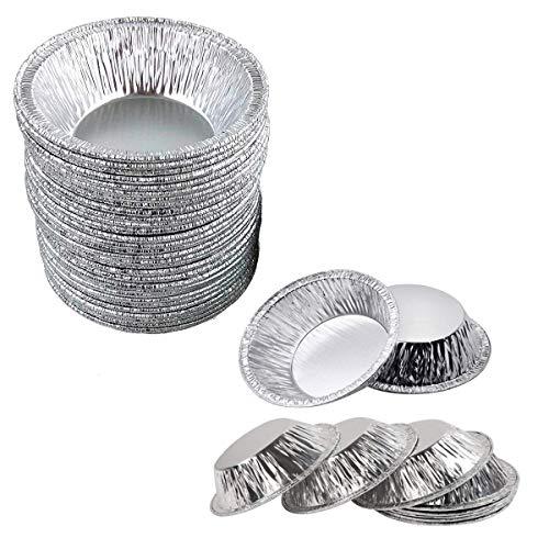 OBTANIM Disposable Aluminum Foil Mini Tart/Pie Pans, 3 Inch Small Tart/Pie Pan Portuguese Tart Baking Mold Mini Tart/Pie Tins for Baking Supplies, Pack of 100