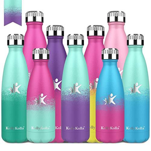 KollyKolla Botella de Agua Acero Inoxidable - 350ml/500ml/650ml/750ml, Termo Sin BPA Ecológica, Botellas Termica Reutilizable Frascos Térmicos para Niños & Adultos, Deporte, Oficina, Yoga, Ciclismo