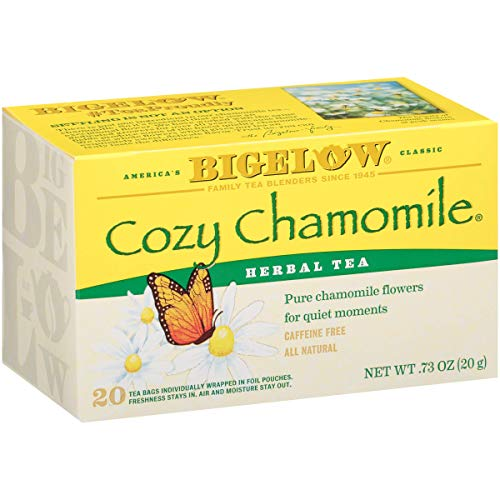 Bigelow Cozy Chamomile Herbal Tea Bags, 20 Count Box (Pack of 6) Caffeine Free Herbal Tea, 120 Tea Bags Total, Set of 2