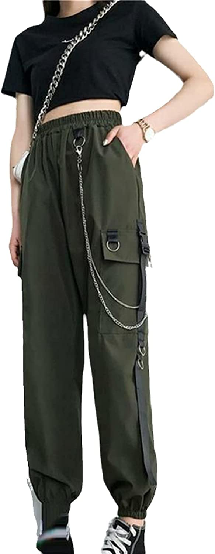 GUOYUXIAO Women's Overalls Harem Pants Punk Sports Pants with Chain Harajuku Stretch High Waist Streetwear