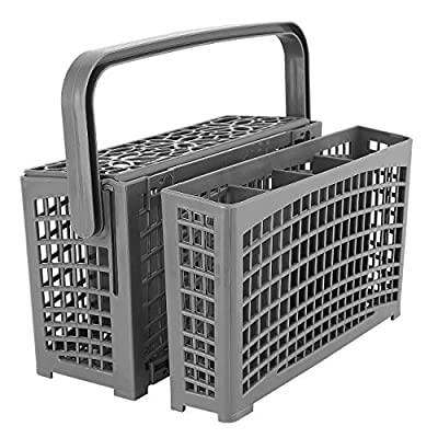 Housolution Universal Dishwasher Silverware Replacement Basket, 2 in 1 Utensil/Cutlery Basket with 7 Compartments, Compatible with Bosch Maytag Kenmore Whirlpool KitchenAid Samsung Frigidaire - Gray