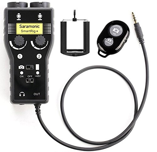 Saramonic SmartRig + 2-Channel XLR/3.5mm Microphone Audio Mixer w/ Phantom Power Preamp for iPhone, iPad, iPod and Android Smartphones + Ivation Smartphone Tripod Mount w/ Selfie Remote Controller
