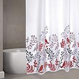 "Cotexsa by MSV Premium Anti-Schimmel Textil Duschvorhang - Anti-Bakteriell, waschbar, 100prozent wasserdicht, mit 12 Duschvorhangringen - Polyester, ""Vögel"" Weiß 180x200cm"