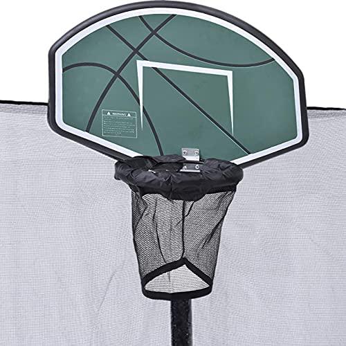 Yusheng Aro de Baloncesto trampolín con Mini Baloncesto y Bomba, fácil de Montar, Accesorio Universal de aro de Baloncesto para trampolín para Postes de Red Rectos