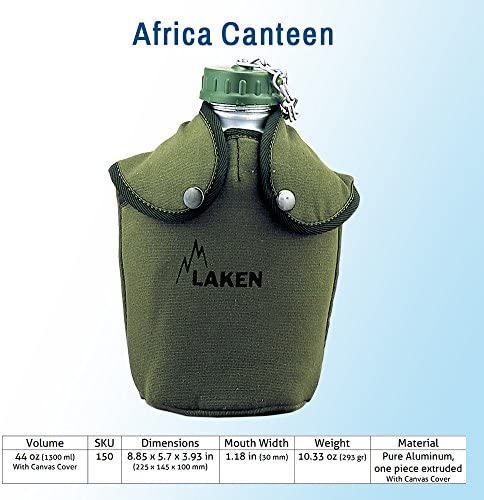 Leak Proof BPA Free Laken Camping and Hiking Water Canteens Western and Military Styles with Shoulder Strap Aluminum with Cover
