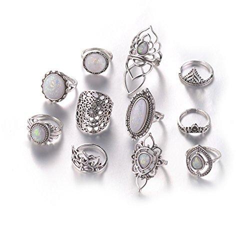 CanVivi Juego de anillos de plata antigua con ópalo de fuego de 11 piezas