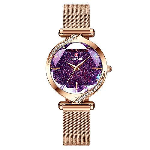 Shalwinn Orologio Donna 32mm,Orologio da Donna Con Cielo Stellato,Orologio Impermeabile Acciaio Inossidabile Diamante Quarzo Analogico Moda Economico Donna Oro rosa Piccolo