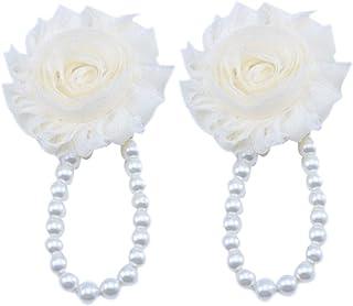 Jojck Newborn Baby Girls Barefoot Sandals Mini Flower Simulated-Pearl Foot Chain Anklets Accessories Beige