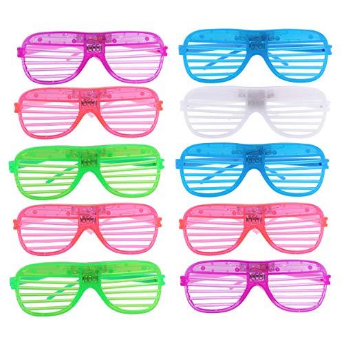 LUOEM 12 Paar Dunkle Shutter Shades Party Bevorzugt Bunte LED Brillen Gitter Brillen LED Brillen für Club Party Halloween Cosplay (Zufällige Farbe)